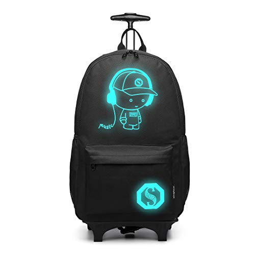 Kono Children Luggage Suitcase Luminous Music Kids Laptop Backpack Cabin Wheeled Travel Business Wheeled Rolling Trolley Hand Case 25L (Black)