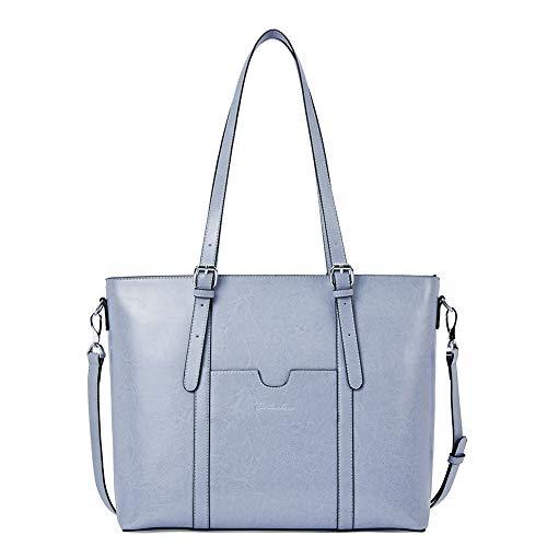 BOSTANTEN Women Leather Laptop Tote Office Shoulder Handbag Vintage Briefcase 15.6 inch Computer Work Purse Light Blue