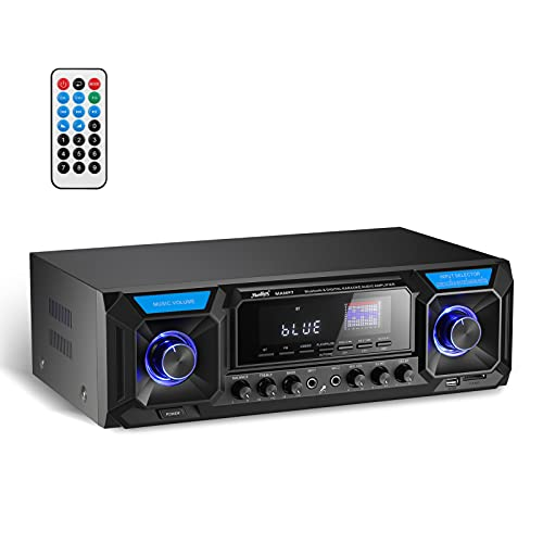 Amplificador de Potencia de Audio Moukey Bluetooth 5.0, 2 x 165 W, Receptor estéreo de Cine en casa, USB, SD, FM, 2 micrófono, Eco, RCA, LED, selector de Altavoz, para Estudio, Uso doméstico, MAMP7