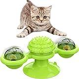 iNeego Juguetes para Gatos Interactivos, Juguete de Gato Giratorio Ventosa, Gato Juguete Molino de Viento, Gatos Accesorios para Limpieza de Dientes, Juguete Rascador de Cosquillas para Gatos