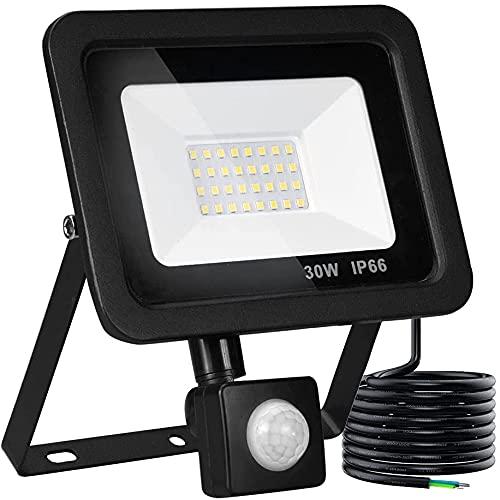 Foco LED con detector de movimiento para exteriores, 30 W LED foco exterior, 6000 K luz blanca diurna, 2400 lúmenes, foco LED con cable de 2 m, IP66 resistente al agua para jardín y garaje