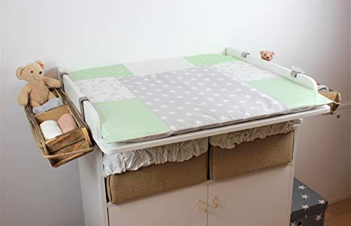 miRio • Bezug für 85x75 cm Baby Wickelauflage, Wickelunterlage Wickelaufsatz für Wickeltisch Kommode aus 100% Baumwolle • Wickelbezug Mint Sterne • Oeko-Tex Standard Deko im Kinderzimmer