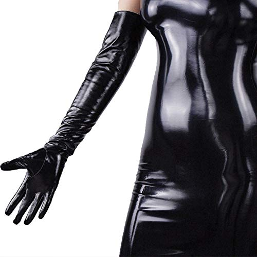 DooWay 23-inch Super Long Black PU Shiny Women Gloves Faux Leather Unlined Cosplay 1 Pair Opera Length Finger Gloves