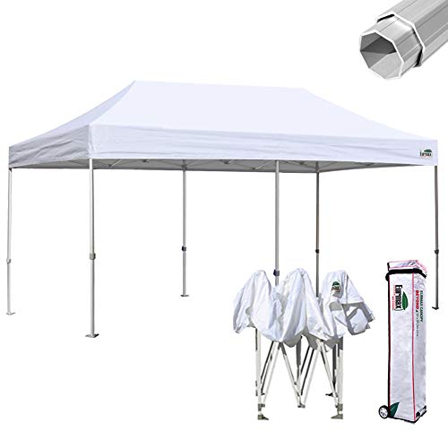 Eurmax Beyond 10x20 Ez Pop up Canopy Wedding Party Tent Instant Outdoor Gazebo Aluminum Frame Bonus Roller Bag (10x20, White)