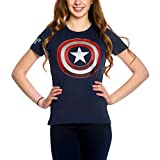 Captain america Camiseta para Mujer Shield Logo Marvel Elven Forest Cotton Blue - S