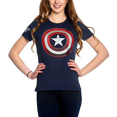 Captain america Camiseta para Mujer Shield Logo Marvel Elven Forest Cotton Blue - XS