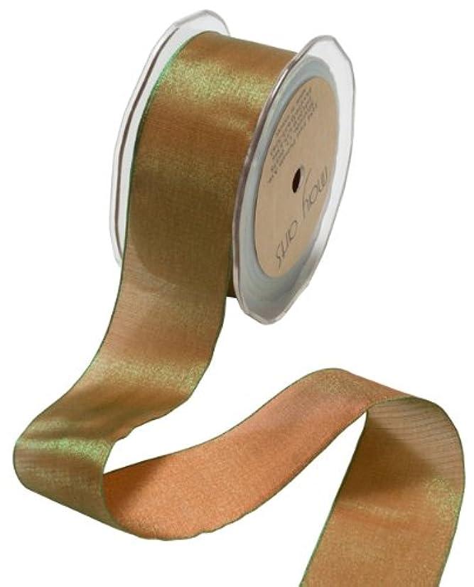 May Arts 1/4-Inch Wide Ribbon, Dark Orange and Olive Iridescent