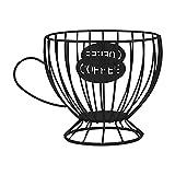 DELITLS - Contenitore per caffettiera a forma di tazza, multiuso, in ferro, in metallo, per bancone e cialde da caffè, organizer per tazze, porta caffè e cialde (nero)