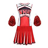 QMKJ Mesdames Glee Cheerleader School Girl Costume Party Uniforme Costume Tenue Rouge pour...