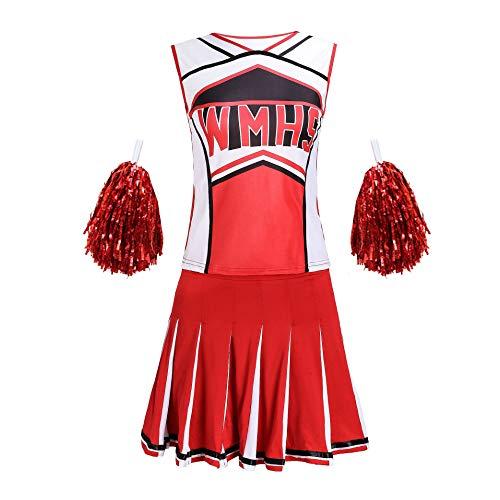 QMKJ Damen Glee Cheerleader Schulmädchen-Abendkleid-Uniform-Partei-Kostüm-Ausstattungs-Rot für Wettbewerbe Kostümierungen karnevale cosplayen Aufführungen Sportveranstaltungen,S