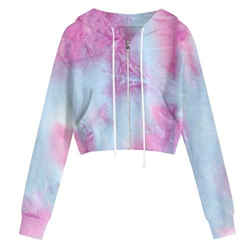 Sweatshirt Femme Chic Hoodie Fille Tie Dye Crop Top Manche Longue T-Shirt Casual Mode Sport Pull Chemise Haut Blouse Printemps Automne Sweats à Capuche