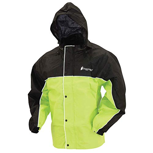 Frogg Toggs Road Toad Reflective Waterproof Rain Jacket, Hivis Green/Black, Large