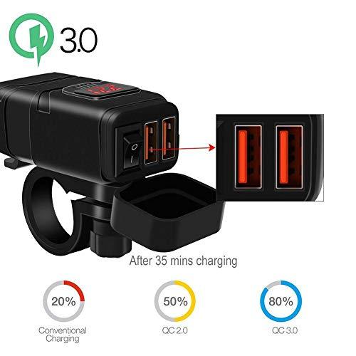 gfyee Quick Charge 3.0 Motorrad USB Ladegerät, DC 6-30V USB Buchse Einbau für Motorrad SAE, Wasserdichte Auto Steckdose KFZ Ladegerät mit ED Voltmeter, Zigarettenanzünder Adapter für AUTO LKW