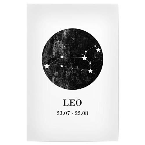artboxONE Poster 30x20 cm Typografie Löwe hochwertiger Design Kunstdruck - Bild Zodiac löwe löwe