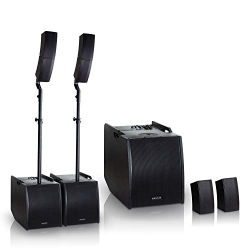 HAISER HSR 212 D 400 W RMS Aktiv Portable Array System Power Set | Compact Array Line System | PA System | Säulensystem | Subwoofer | Bluetooth | USB | SD