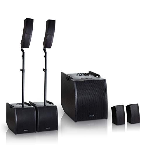 HAISER HSR 212 D 400 W RMS Aktiv Portable Array System Power Set | Compact Array Line System | PA System | Säulensystem | Subwoofer | Bluetooth | USB | SD