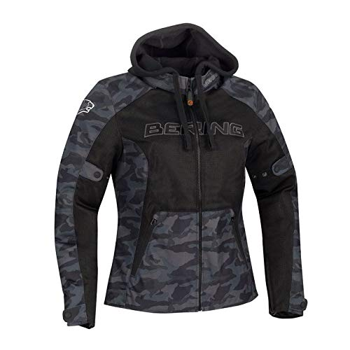 BERING Spirit - Chaqueta de moto para mujer, color negro camo, T1 = 38