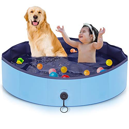 AIIYME Hunde-Schwimmbecken, faltbar, für Kinder, PVC, rutschfest, für den Garten, Haustier-Pool, mittelgroß, zusammenklappbar, Sicherheits-Planschbecken für Hunde, Katzen und Kinder (120 x 30 cm)