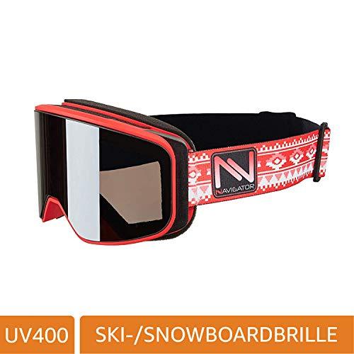 NAVIGATOR Powder Skibrille/Snowboardbrille, nahezu Rahmenlos, Doppellinse, AntiFog Beschichtung, UVA Schutz, Wintersport Brille m. verspiegelten Gläsern, für Skihelme geeignet, div. Farben (ROT)