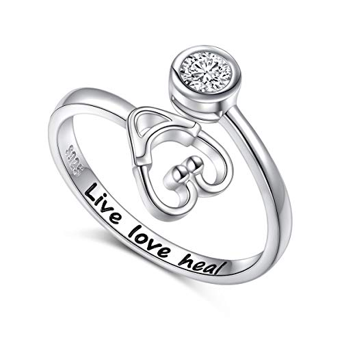 925 Sterling Silver Live Love Heal Stethoscope Ring Size 9 Jewelry for Women Nurse Doctor Medical Student Graduation Gift