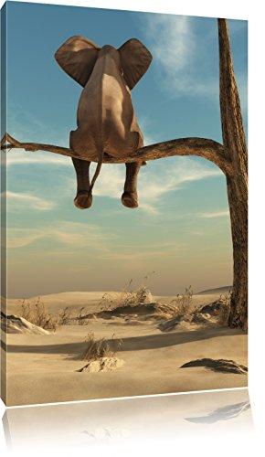 Pixxprint Elefant auf einem AST in der Wüste als Leinwandbild | Größe: 100x70 cm | Wandbild| Kunstdruck | fertig bespannt
