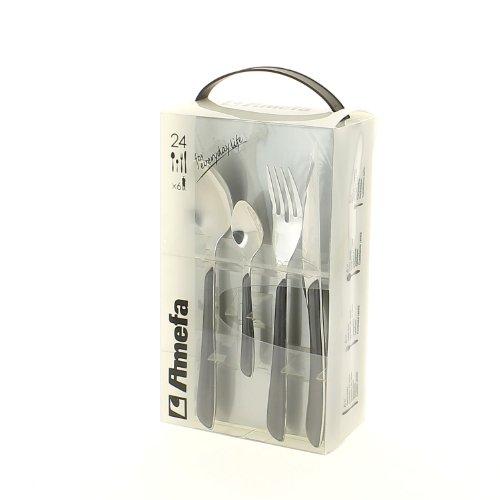 Amefa - Set di posate in acciaio INOX, 24 pezzi, per 6 persone, manico in plastica di alta qualità, colore grigio, lavabile in lavastoviglie