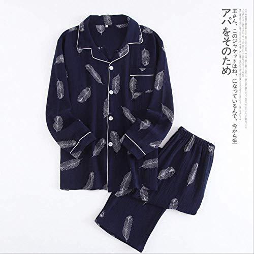 XFLOWR Herren Pyjamas Herbst Winter Langarm Home Wear Baumwolle Cartoon Pyjamas Herren Lounge Pyjama Sets Plus Size Nachtwäsche M 002