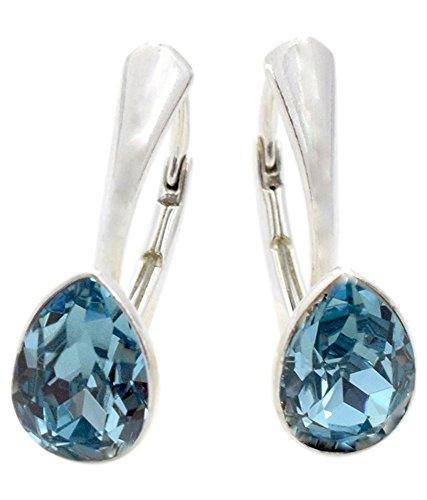 Crystals & Stones NEUHEIT - Tropfen - Wundervolle Ohrringe - Farbvarianten - Silber 925 Schön Damen Ohrringe mit Kristallen von Swarovski Elements - Wunderbare Ohrringe (Aquamarine)