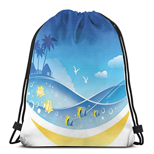 LLiopn - Zaini a sacco con coulisse, con onde marine esotiche nella fauna, con gabbiani e alberi di cocco, regolabile, capacità 5 litri, regolabile.