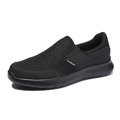 NewDenBer Herren Leichtes Slip On Sneaker Sportschuhe (50 EU, Schwarz Black)