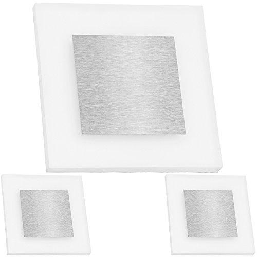 3er Set - Flexible LED Treppenbeleuchtung mit Edelstahl-Abdeckung für Schalterdoseneinbau 68mm / 60mm oder Wandmontage - eckig - Warmweiß 3000K [Stufenbeleuchtung - Wandbeleuchtung - indirekt]