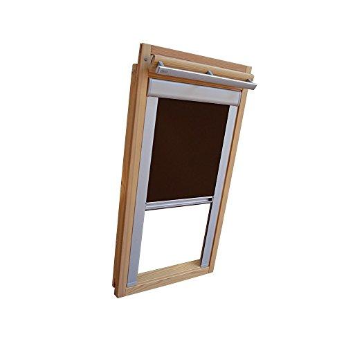 Verdunkelungsrollo THERMO Alu-Rückseite für VELUX Dachfenster TYP GGL/GPL - 310 oder M10 - Farbe Dunkelbraun - mit Aluminium Seitenschienen - KLICK Montage