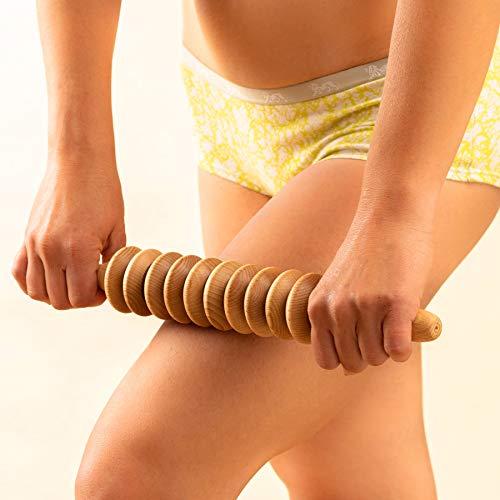 Tuuli Accessories Anti Cellulite Massage Disk Massagegerät Massageroller Roller mit Griff Maderotherapie aus Holz