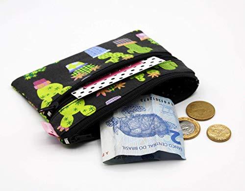 Kaktus Muster Mini Portemonnaie mit 2 Reißverschluß Fächern Grau Geldbeutel Stoff