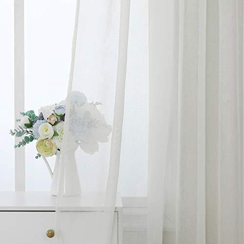 MIULEE Cortinas Poliéster Translucida de Dormitorio Moderno Ventana Visillos Salon para Sala Cuarto Dormitorio Comedor Salon Cocina Salón de 2 Unidades 140 x 215cm Amarillo Claro