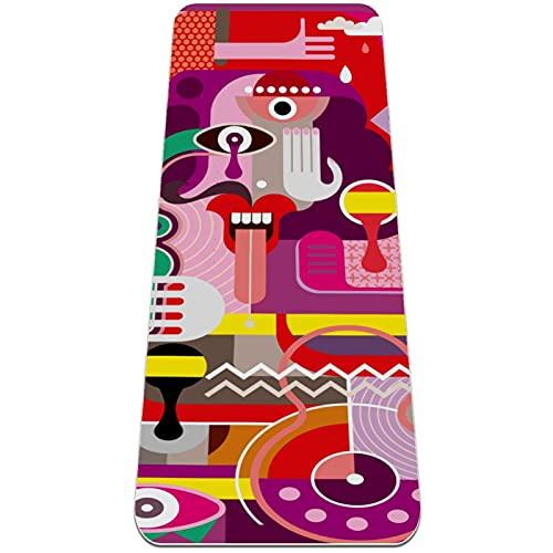Colchoneta de Yoga Esterilla Yoga Material medioambiental TPE,Figura abstracta colorida ,Espesor:6milímetros,8milímetros,Tapete de Deporte Grande y Antideslizante,Correas y Mochilas como Regalos