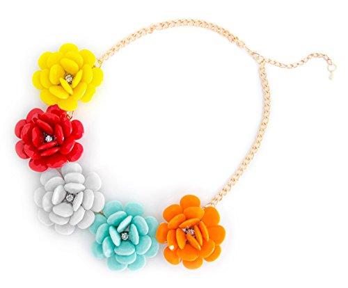 XXL Sommer Statement-Halskette Collier Blumen in der Farbe bunt Modeschmuck Schmuck Statementkette