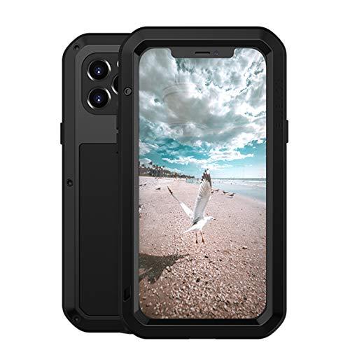 LOVE MEI iPhone 11 6.1' a Prueba de choques Funda, Impermeable Cover Case Metal Aluminio Cover Shockproof Military Heavy Duty Carcasa con Cristal de Gorila para iphone 11 (iPhone 12/12 Pro 6.1, negro)