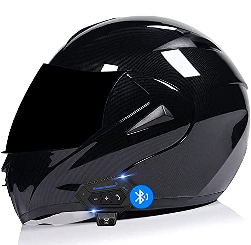 Sebasty Casco de Moto Modular Bluetooth Integrado con Doble Visera Cascos de Motocicleta Casco Integral Motocross ECE/Dot Homologado, Transpirable Y Cómoda, para Mujeres Y Hombres 1,L