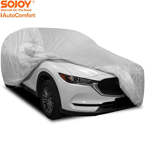 Sojoy Thick Multi-Layered Car Cover Damage for Sedan, Coupe, Hatchback in All-Weather Small Size Hail/Rain/Snow/Heat Waterproof/Dustproof/Scratchproof UV Protection Full Cover 177