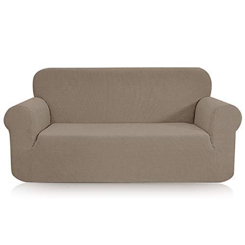 TOPOWN 1 Pieza Funda de sofá, Jacquard Funda Sofa Elasticas, Funda Sofá Antiarañazos, Cubierta Forros para Sofas, Ajustable Protector para Sofá (Arena,3 plazas)