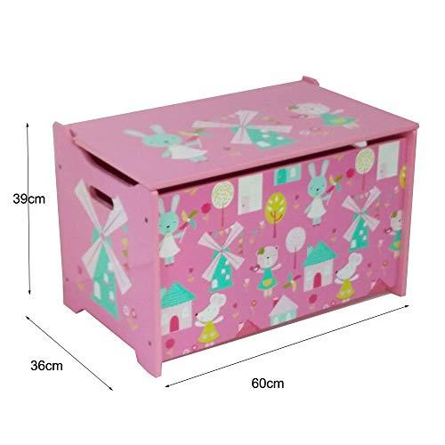 Style home Spielzeugtruhe Spielzeugkiste Kinder Sitztruhe Sitzbank Aufbewahrungsbox für Kinderzimmer, Rosa, Holz (60 x 36 x 39 cm) - 2