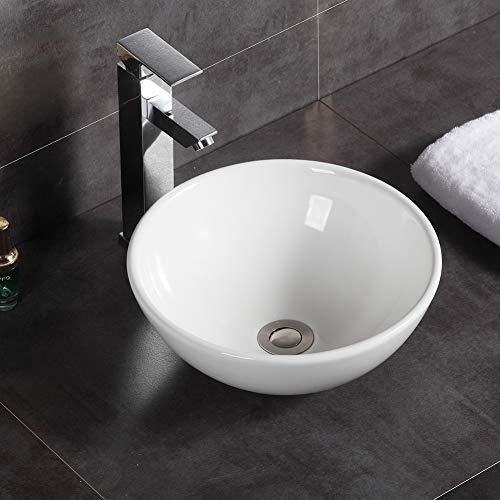 Modernes rundes Aufsatzwaschbecken aus Keramik, für Badezimmer, 320 x 320 x 130 mm