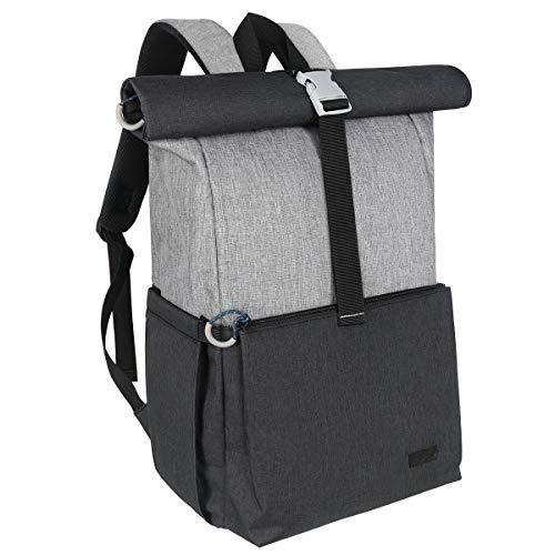 Hap Tim Baby Wickelrucksack Wickeltasche, Rolltop lässige Große Kapazität Babytasche Reisetasche für Unterwegs (Grau)