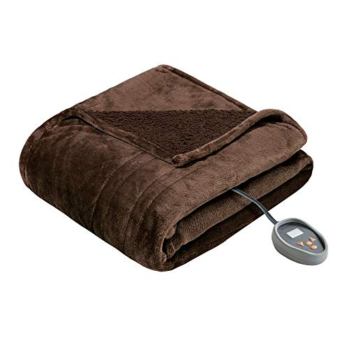 Brown Heated Throw Blanket Full Electric Blanket Heating Cozy Warming Throw For Bed Sofa Couch Winter Auto Shut Off, 20 Heat Temperature Settings Lightweight Super Soft Comfy Plush Polyester, 80x84