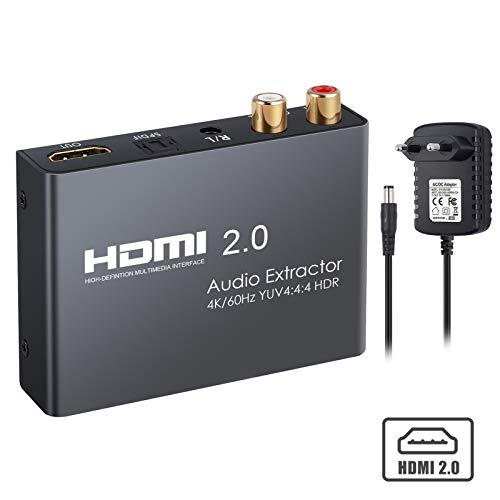 HDMI 2.0 Audio Konverter unterstützt 4K @ 60Hz YUV 4: 4: 4 und HDR HDMI zu optischem TOSLINK SPDIF + analoger Cinch L/R 3,5-mm-Kopfhörer Stereo-Audio-Splitter-Adapter Konverter