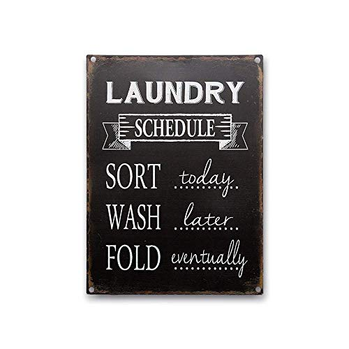 Goutoports Laundry Room Vintage Metal Sign Laundry Schedule Black Decorative Farmhouse Signs Wash Room Decor Bathroom Signs 7.9x11.8 Inch