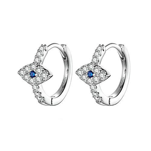 Vioness - Pendientes de aro para mujer de plata 925 con forma de ojo malvo, circonio azul y blanco, antialérgico