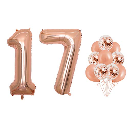 40 inch Jumbo Rose Gold Foil 17 Balloons Confetti 17 Balloons for 17th Birthday Party Supplies Anniversary Events Decorations and Graduation Decorations (Confetti17)