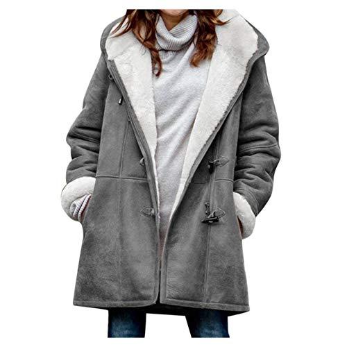 iHENGH Damen Winter Plus Size Solid Plus Samtmantel Langarm Horn Schnalle Tasche Mantel(Grau-1, 4XL)
